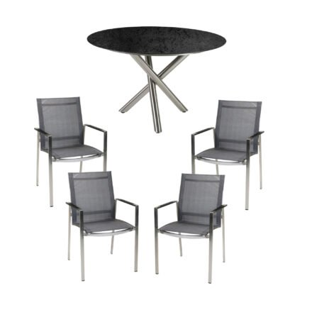 """Diamond Garden Gartenmöbel-Set mit Gartenstuhl """"Gaco"""" und Tisch """"San Marino"""" Ø 120 cm, Edelstahl, HPL Schiefer"""