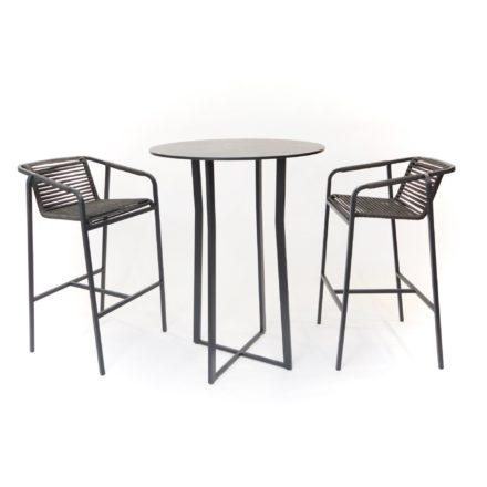 """Fischer Möbel """"Suite"""" Bartisch und 2 Barstühle, Gestell Edelstahl antrazit matt Sturkturlack"""