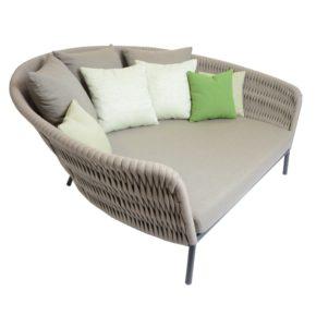 """Fischer Möbel """"Wing"""" Daybed, Gestell Aluminium mit fm-rope stone und Sunbrella® Kissenset Green Pistache"""