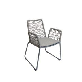 """Fischer Möbel """"Wing light"""" Sessel, Gestell Aluminium anthrazit matt Strukturlack, Gewebe fm-rope anthrazit, Sitzkissen granite (separat erhältlich)"""