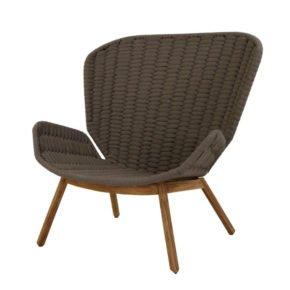 "Fischer Möbel Relaxsessel ""Wing"", Gestell Teakholz, Sitzfläche fm-soft rope basalt"