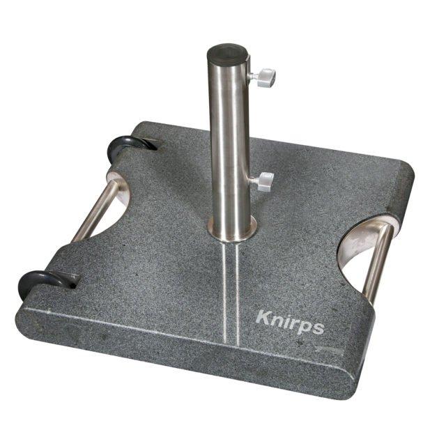 Trolley-Granitsockel, 50 kg, rollbar, mit ausziehbarem Handgriff, für alle Mittelstockschirme von Knirps
