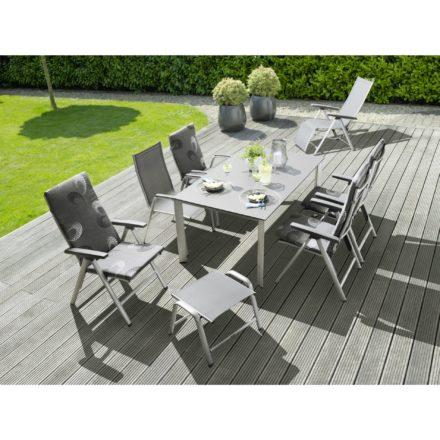 """Kettler HKS """"Cirrus"""" Gartenmoebelserie, Alugestell silber, Textilgewebe anthrazit-grau, hier mit Gartentisch """"Edge"""" Tischplatte Kettalux-Plus anthrazit (Schieferoptik)"""