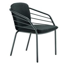 "Solpuri ""Provence"" Stapelsessel, Aluminium anthrazit mit Sitz- und Rueckenpolster"