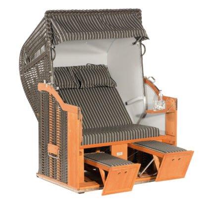 """SonnenPartner Strandkorb 2-Sitzer """"Classic"""", PVC-Kunststoffgeflecht anthrazit, Vario-Polsterung, Stoff Nizza, Innenstoff uni hellgrau"""