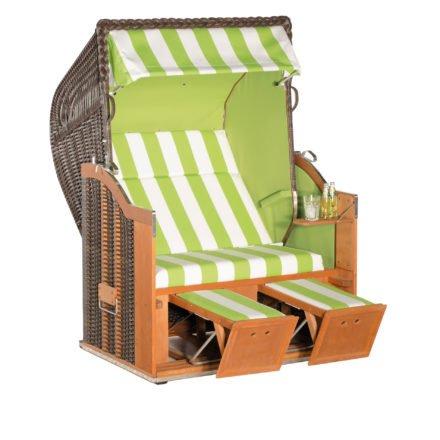 "SonnenPartner Strandkorb 2-Sitzer ""Classic"", PVC-Kunststoffgeflecht cappuccino, Vario-Polsterung, Stoff Nr. 84, Innenstoff uni kiwigrün"