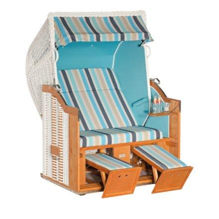 """SonnenPartner Strandkorb 2-Sitzer """"Classic"""", PVC-Kunststoffgeflecht weiß, Vario-Polsterung, Stoff Ocean, Innenstoff türkis"""