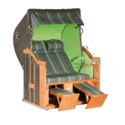 "SonnenPartner Strandkorb 2-Sitzer ""Classic"", PVC-Kunststoffgeflecht anthrazit, Vario-Polsterung Stoff 188, Innenstoff uni apfelgrün, mit 2 Nackenrollen"