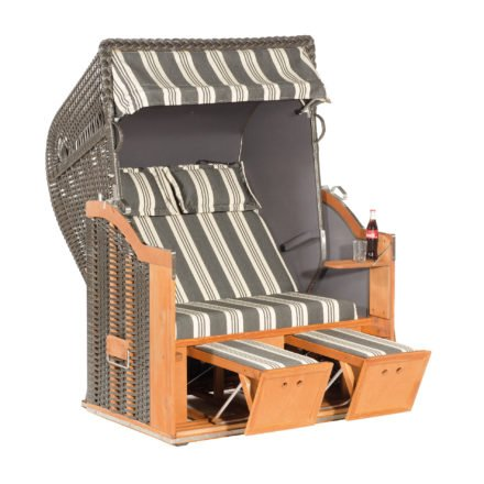 """SonnenPartner Strandkorb 2-Sitzer """"Classic"""", PVC-Kunststoffgeflecht anthrazit, Vario-Polsterung Stoff Nizza, Innenstoff uni anthrazit"""