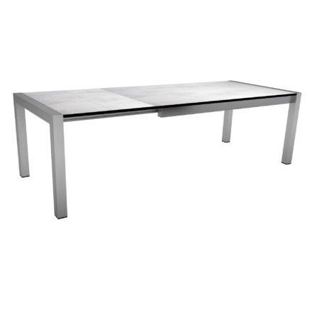 """Ausziehtisch """"Standard"""" von Stern, Gestell Edelstahl, Tischplatte HPL Zement hell, Größe: 174/254x90 cm"""