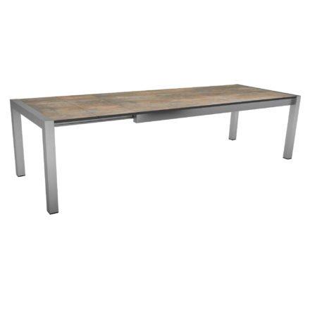"""Ausziehtisch """"Standard"""" von Stern, Gestell Edelstahl, Tischplatte HPL Ferro, Größe: 214/294x100 cm"""