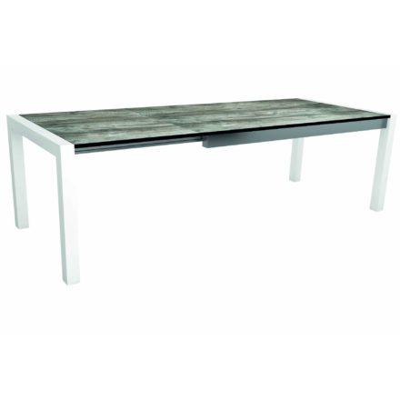 "Stern Ausziehtisch ""Standard"", Gestell Aluminium weiß, Tischplatte HPL Tundra grau"