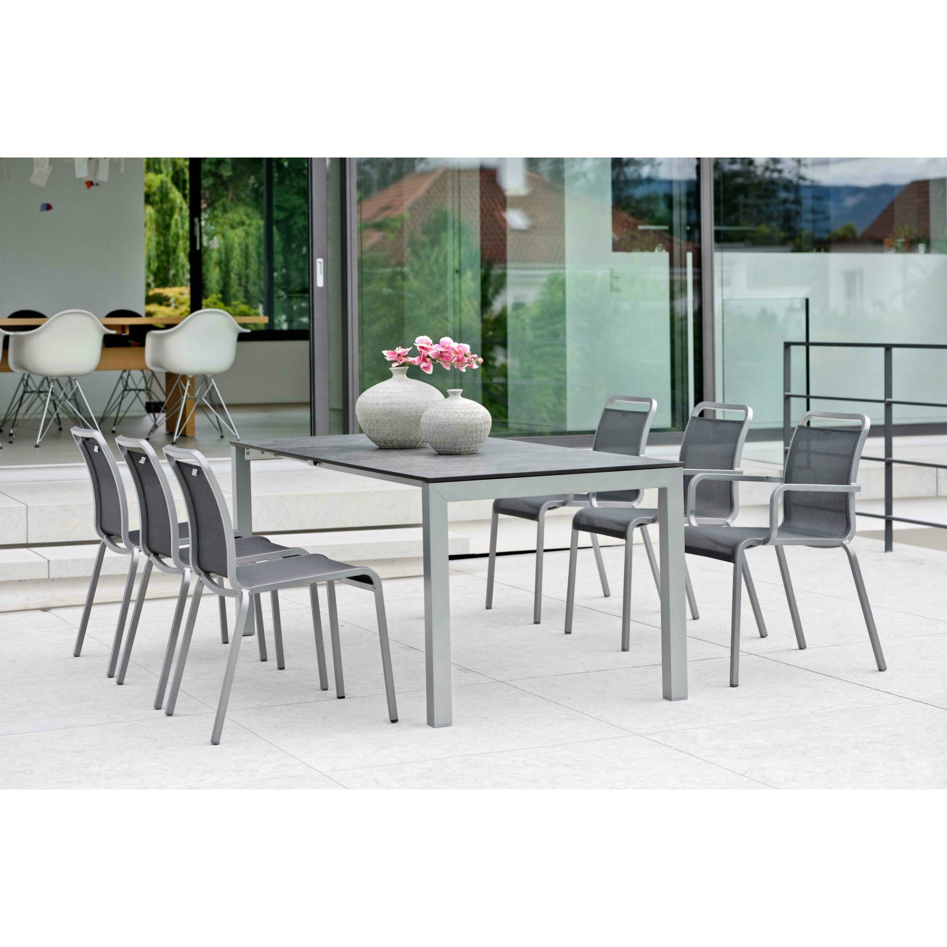 stern gartenm bel set mit stuhl oskar und ausziehtisch aluminium hpl. Black Bedroom Furniture Sets. Home Design Ideas