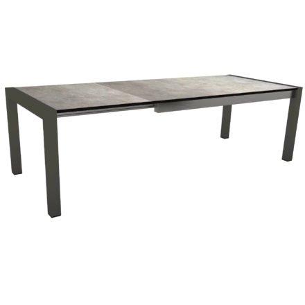 "Stern Ausziehtisch ""Standard"", Gestell Aluminium anthrazit, Tischplatte HPL Metallic grau"