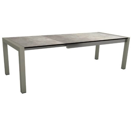 "Stern Ausziehtisch ""Standard"", Gestell Aluminium graphit, Tischplatte HPL Metallic grau"