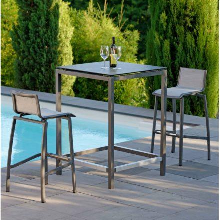 Stern Bartisch, Gestell Aluminium anthrazit, Tischplatte HPL Zement