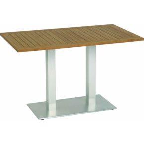 """Stern """"Mailand"""" Bistrotisch, Gestell Aluminium in Edelstahloptik, Tischplatte Teak"""