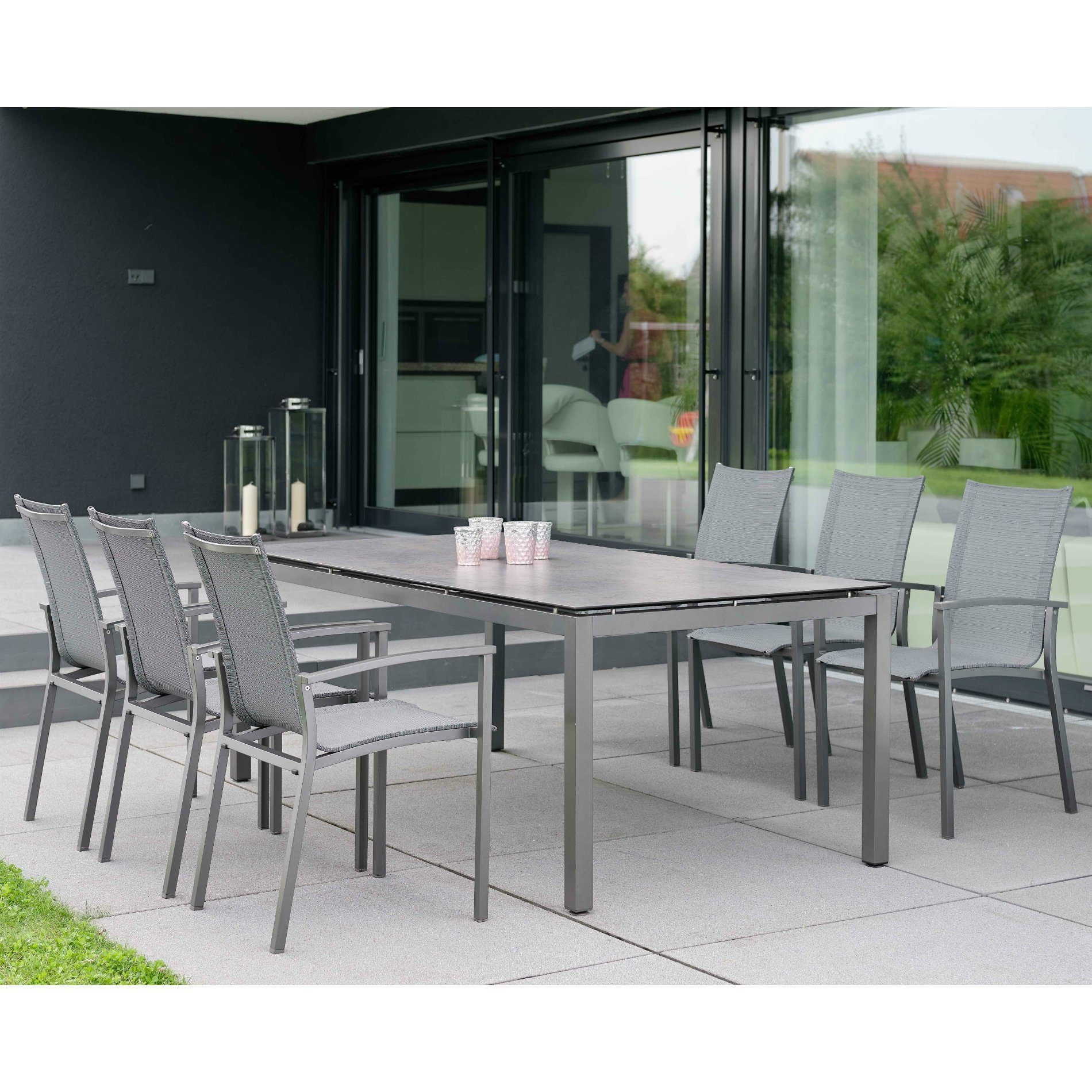 stern gartenm bel set mit stuhl evoee und gartentisch aluminium hpl. Black Bedroom Furniture Sets. Home Design Ideas