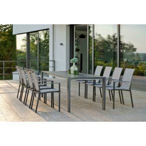 """Stern Gartenmöbel-Set mit Stuhl """"Evoee"""", Gestell Aluminium anthrazit, Textilgewebe silber, Ausziehtisch Aluminium/HPL, 200/260x90 cm"""