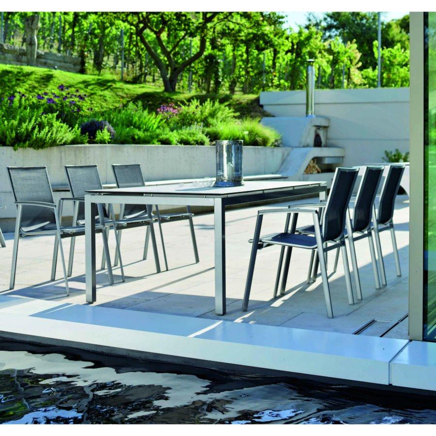 stern gartenm bel set mit stuhl new top und tisch aluminium graphit hpl tundra grau. Black Bedroom Furniture Sets. Home Design Ideas