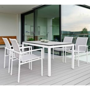 """Stern Gartenmöbel-Set mit Stuhl """"Skelby"""" und Gartentisch Aluminium weiß/HPL Zement hell"""