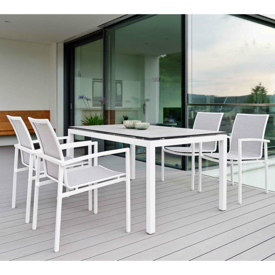 Stern Gartenmobel Set Mit Stuhl Skelby Und Tisch Aluminium Weiss Hpl