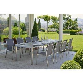 """Stern Gartenmöbel-Set mit Stuhl """"Cardiff"""" und Ausziehtisch Edelstahl/HPL, hier Variante Textilgewebe silbergrau, Armlehne anthrazit, HPL-Platte Vintage grau"""