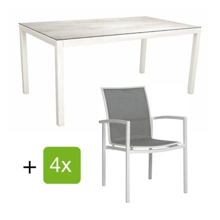 "Stern Gartenmöbel-Set ""Evoee"", Gestelle Aluminium weiß, Sitzfläche Textilgewebe silberfarben, Tischplatte HPL Zement hell"
