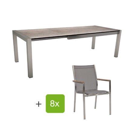 """Stern Gartenmöbel-Set mit Stuhl """"Cardiff"""" und Ausziehtisch Standard, Gestelle Edelstahl, Sitz Textil silbergrau, Armlehnen Teak, Tischplatte HPL Smoky"""
