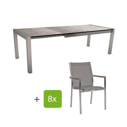 """Stern Gartenmöbel-Set mit Stuhl """"Cardiff"""" und Ausziehtisch Standard, Gestelle Edelstahl, Sitz Textil silbergrau, Armlehnen Teak, Tischplatte HPL Metallic Grau"""