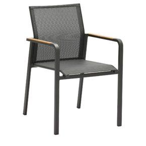 "Zebra Stapelsessel ""Bee"", Gestell Aluminium graphite, Teakarmlehnen, Sitzfläche Textilgewebe carbon grey"