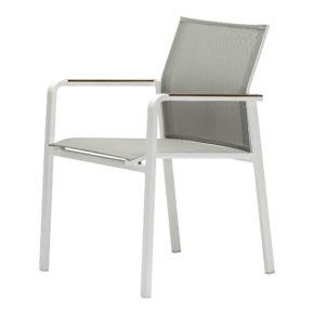 "Zebra Stapelsessel ""Bee"", Gestell Aluminium white, Teakarmlehnen, Sitzfläche Textilgewebe light grey"
