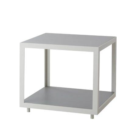 "Cane-line Loungetisch ""Level"" 48 x 48 cm, Gestell Aluminium weiß, Tischplatte Keramik hellgrau"