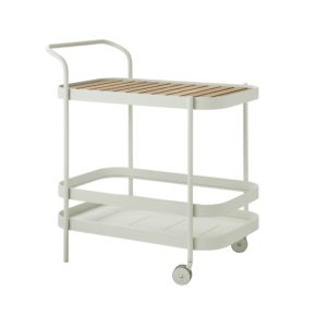 "Cane-line ""Roll"" Teewagen, Aluminium weiß mit abnehmbarer Teakplatte"