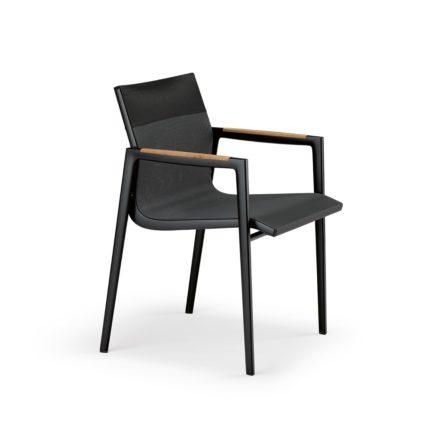 "DEDON Armlehnstuhl ""DEAN"", Gestell Aluminium schwarz, Textilbezug antracite & black"