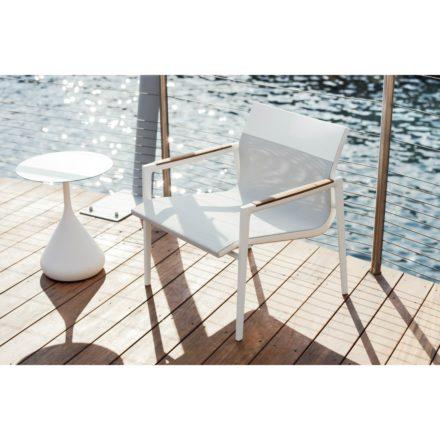 """DEDON Loungesessel """"DEAN"""", Gestell Aluminium schwarz, Textilbezug pearl gray & white mit Tisch """"SATELLITE"""""""