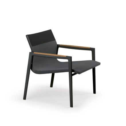 "DEDON Loungesessel ""DEAN"", Gestell Aluminium schwarz, Textilbezug antracite & black"