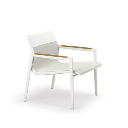"DEDON Loungesessel ""DEAN"", Gestell Aluminium schwarz, Textilbezug pearl gray & white"