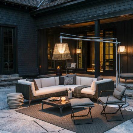 """DEDON """"MU"""" 4er-Sofa, Modul rechts und Kaffeetisch 90x90cm mit Glasplatte sowie """"SEAX"""" Stuhl und Hocker"""