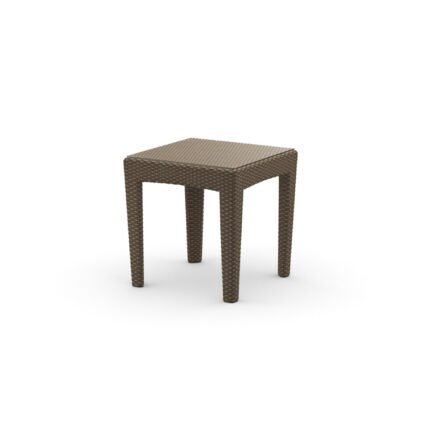 "DEDON Beistelltisch ""PANAMA"", Aluminiumgestell, Tischplatte Klarglas, DEDON Faser bronze"