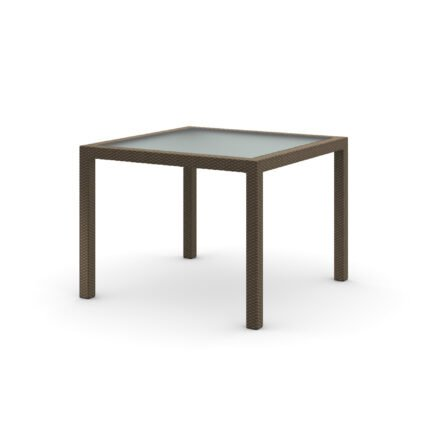 """DEDON Esstisch 100x100 cm """"PANAMA"""", Aluminiumgestell, Tischplatte satiniertes Glas, DEDON Faser bronze"""