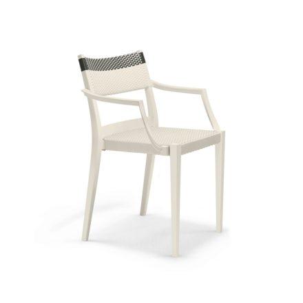 """DEDON Armlehnstuhl """"PLAY"""", Gestell: Polypropylen in der Farbe chalk, Sitz- und Rückenfläche DEDON Faser chalk und carbon"""