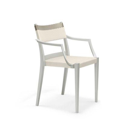 """DEDON Armlehnstuhl """"PLAY"""", Gestell: Polypropylen in der Farbe chalk, Sitz- und Rückenfläche DEDON Faser chalk und platinum"""