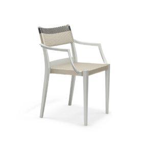 """DEDON Armlehnstuhl """"PLAY"""", Gestell: Polypropylen in der Farbe chalk, Sitz- und Rückenfläche DEDON Faser platinum und titanium"""