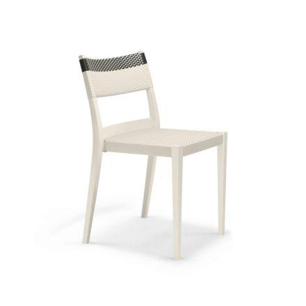 """DEDON Essstuhl """"PLAY"""", Gestell: Polypropylen in der Farbe chalk, Sitz- und Rückenfläche DEDON Faser chalk und carbon"""
