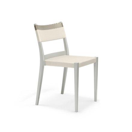 """DEDON Essstuhl """"PLAY"""", Gestell: Polypropylen in der Farbe chalk, Sitz- und Rückenfläche DEDON Faser chalk und platinum"""