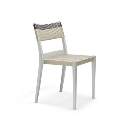"""DEDON Essstuhl """"PLAY"""", Gestell: Polypropylen in der Farbe chalk, Sitz- und Rückenfläche DEDON Faser platinum und titanium"""