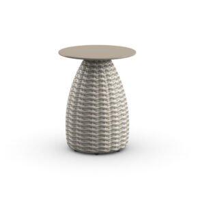 "DEDON Beistelltisch Ø 41 cm ""PORCINI"", Aluminiumgestell mit DEDON Faser carrara, Tischplatte Monolite Ipergres® taupe"