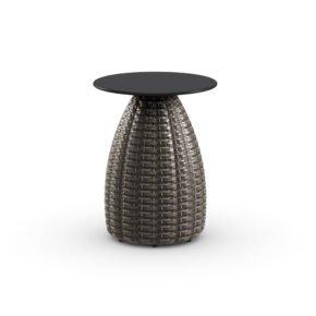 """DEDON Beistelltisch Ø 41 cm """"PORCINI"""", Aluminiumgestell mit DEDON Faser marrone, Tischplatte Monolite Ipergres® schwarz"""