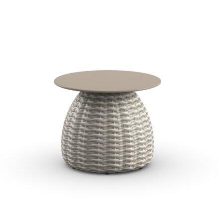 "DEDON Beistelltisch Ø 51 cm ""PORCINI"", Aluminiumgestell mit DEDON Faser carrara, Tischplatte Monolite Ipergres® taupe"